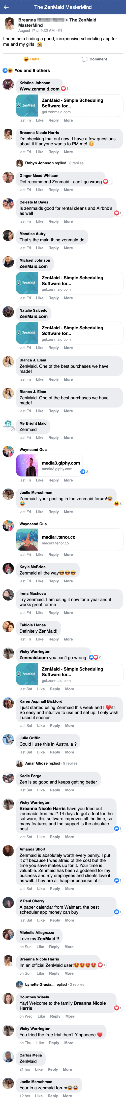 A thread in ZenMaid's Facebook group from someone asking to recommend a scheduling software.
